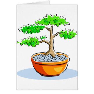 Upright Bonsai Orange Bowl Graphic Image Note Card