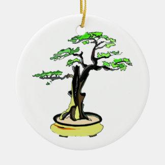 Upright Deadwood Bonsai Green Leaves Round Ceramic Decoration