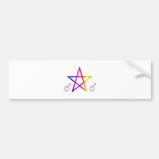 Upright Male Rainbow Pentagram Bumper Stickers