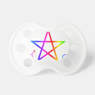 Upright Male Rainbow Pentagram Baby Pacifier