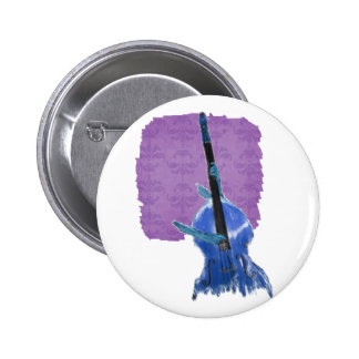 Upright orchestral acoustic double bass blue art pin