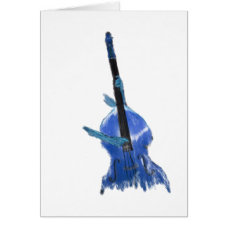 Upright orchestral acoustic double bass blue art note card