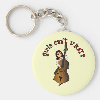 Upright String Double Bass Girl Basic Round Button Key Ring