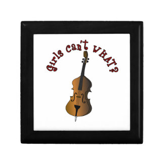 Upright String Double Bass Player Woman Small Square Gift Box