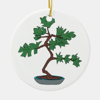 Upright young bonsai graphic round ceramic decoration