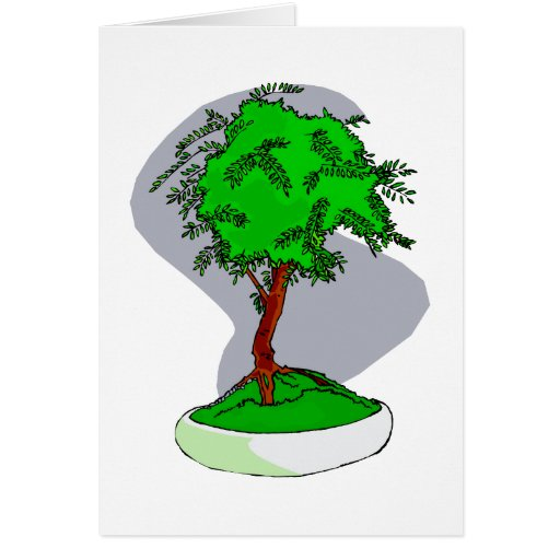 Upright Young Bonsai Graphic Image Design Greeting Card
