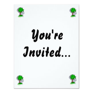 """Upright Young Bonsai Graphic Image Design 4.25"""" X 5.5"""" Invitation Card"""