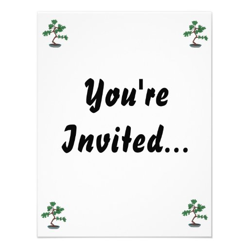 Upright young bonsai graphic personalized invites