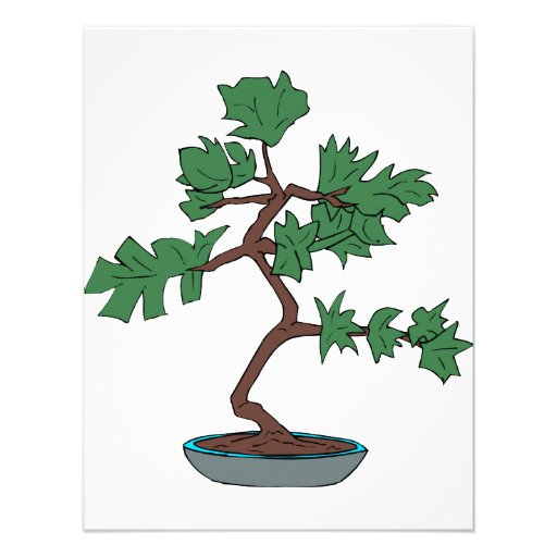Upright young bonsai graphic custom invitations
