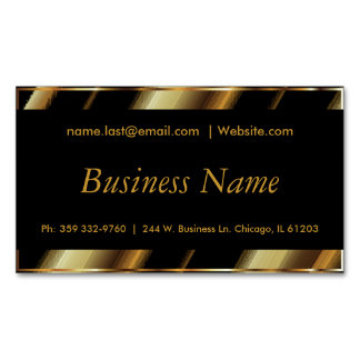 Upscale Black & Gold Diagonal Stripes Magnetic Business Cards