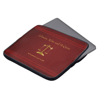 Upscale Deep Red Leather - Attorney Design Laptop Sleeve