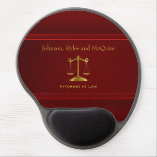 Upscale Deep Red Leather - Law Gel Mouse Pad