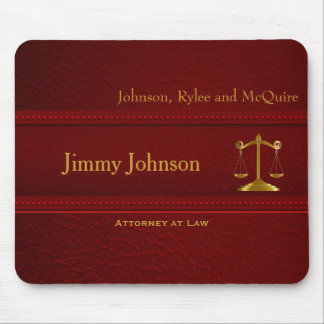 Upscale Deep Red Leather - Lawyer Design Mouse Mat