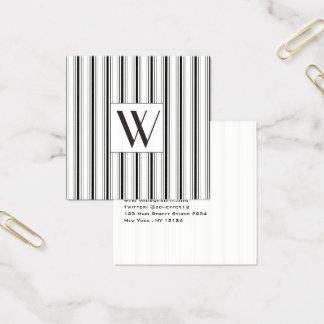 Upscale Minimalist Black White Stripe Monogram Square Business Card