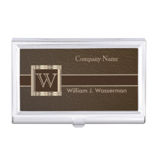 Upscale Monogram Chocolate Leather Business Card Case