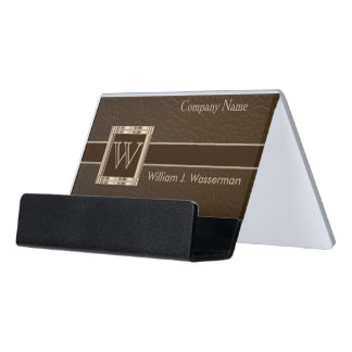 Upscale Monogram Chocolate Leather Desk Business Card Holder