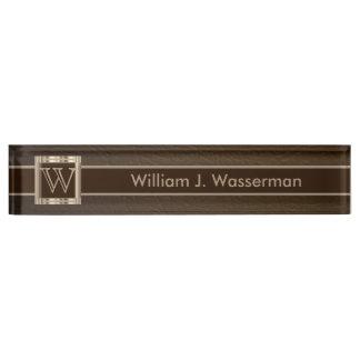 Upscale Monogram Chocolate Leather Desk Nameplates