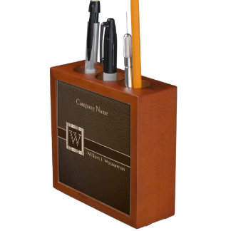 Upscale Monogram Chocolate Leather Desk Organiser