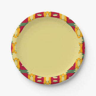 Upscale Paper Plate with Border Design 7 Inch Paper Plate