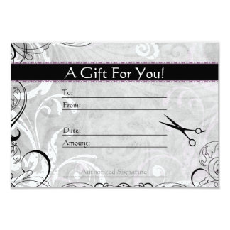 Upscale Swirls and Fluers Salon Gift Card 9 Cm X 13 Cm Invitation Card