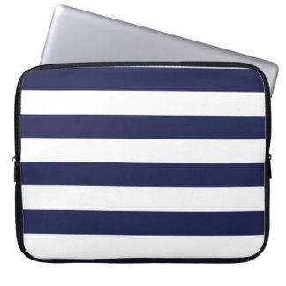 Upscale Venetian Venice Blue White Stripe Pattern Laptop Sleeve