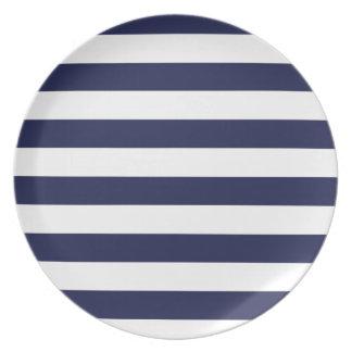 Upscale Venetian Venice Blue White Stripe Pattern Party Plate