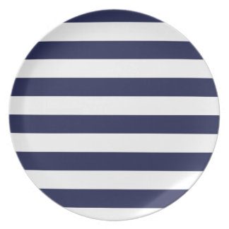 Upscale Venetian Venice Blue White Stripe Pattern Plates