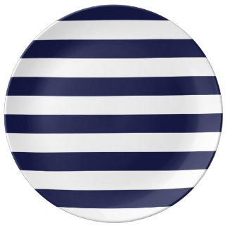 Upscale Venetian Venice Blue White Stripe Pattern Porcelain Plates