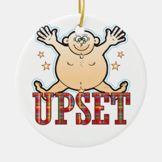 Upset Fat Man Round Ceramic Decoration