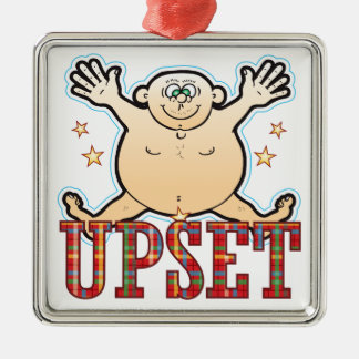 Upset Fat Man Silver-Colored Square Decoration