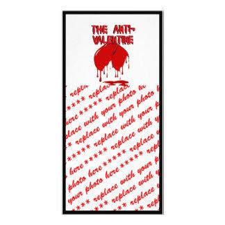 Upside Down Heart w Puddle Anti-Valentine Custom Photo Card
