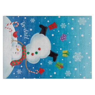 Upside Down Snowman Glass Cutting Board