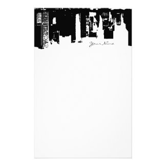 Upside Downtown Midnight Sky Personalized Stationery