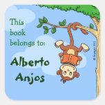 Upside Monkey / funny booklabel for kids