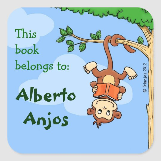 Upside Monkey / funny booklabel for kids Square
