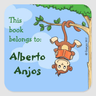 Upside Monkey funny booklabel for kids Stickers