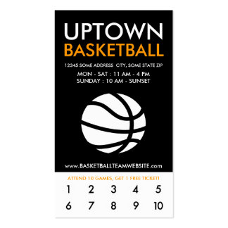 uptown basketball loyalty pack of standard business cards