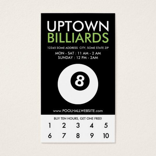 uptown billiards loyalty business card