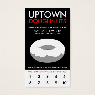 uptown doughnuts loyalty business card