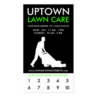 uptown lawn care punch card pack of standard business cards