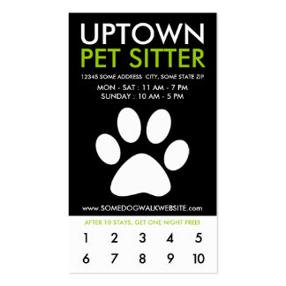 uptown pet sitter loyalty pack of standard business cards