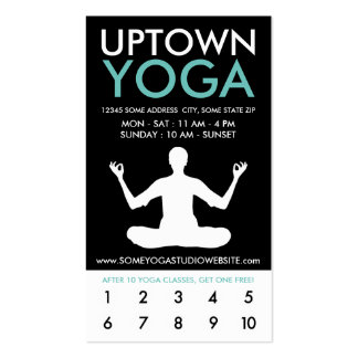 uptown yoga loyalty pack of standard business cards
