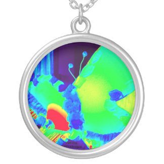 Uptrend , butterfly in vivid  cheerful colours round pendant necklace