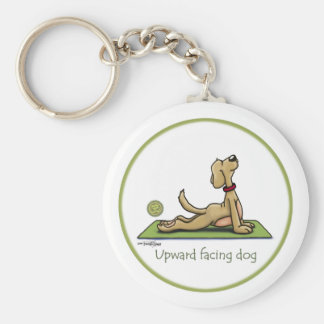 Upward Facing Dog - yoga pose Basic Round Button Key Ring