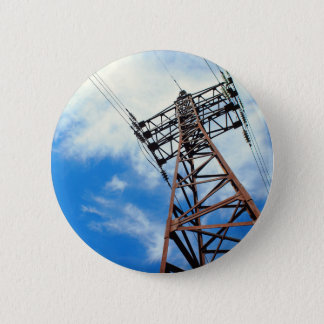 Upward view diagonally to the power line and pylon 6 cm round badge