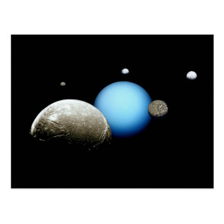Uranus and Moons NASA Planet Postcard