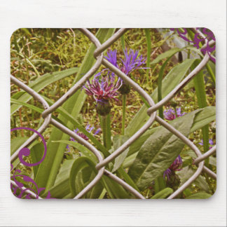 Urbam Fence and Purple Flowers Mousepad