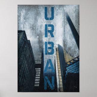 Urban Big City Life Grunge Skyscraper Travel Night Poster