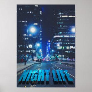 Urban Big City Nightlife Europe Dark Lights Spring Poster