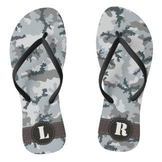 Urban camouflage flip flops